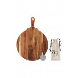Skærebræt & pizzahjul, sæt á 2 stk., 46x34 cm, h.:1,5 cm /19,5x8,5x2,5 cm, akacietræ/rustfri stål