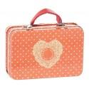 Metal Kuffert - Maileg - orangerød m/ små prikker