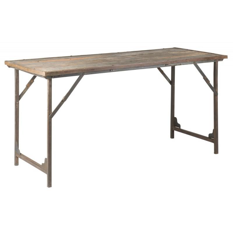 Bord i træ m/ metalstel, rustik - Ib Laursen GRATIS FRAGT