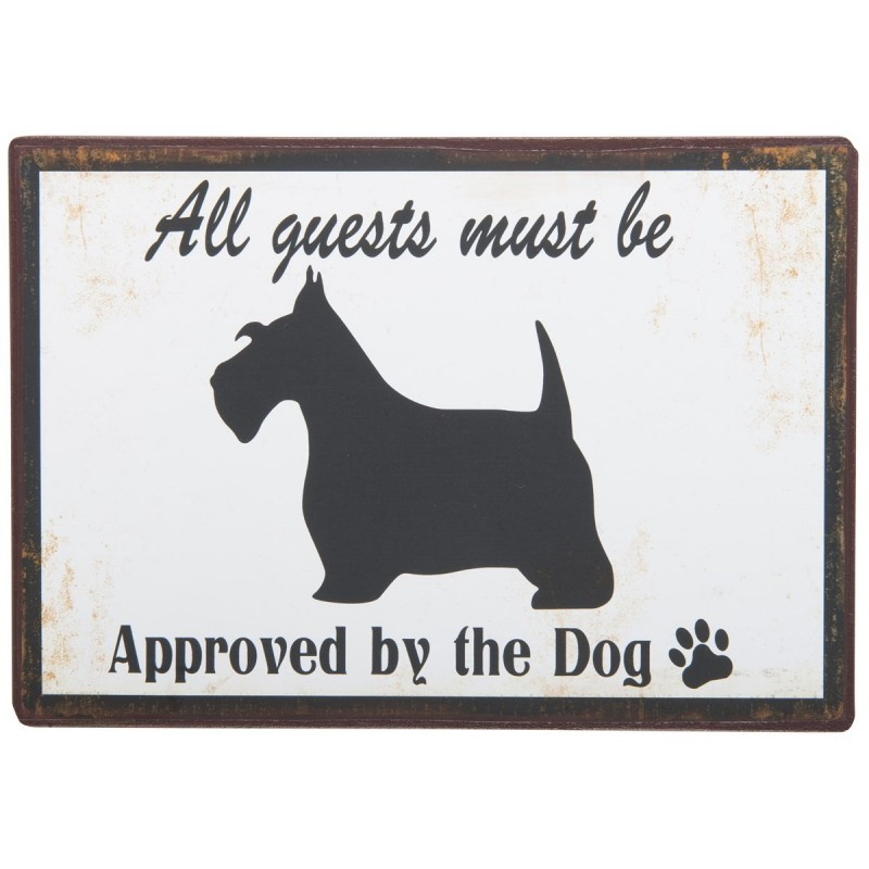 """Metalskilt - ib laursen """"all guests must be approved..."""""""