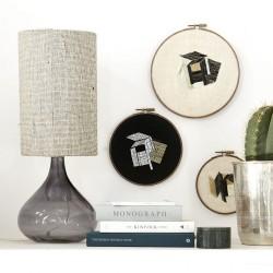 Bordlampe, Med, Grå, Dia.: 26 cm h.: 34 cm, E27