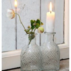 Flaske til bedelys med blomster - Ib Laursen