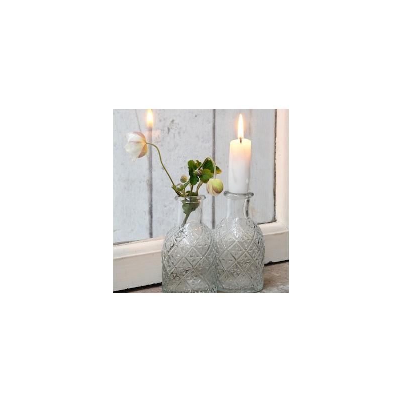 Image of   Apothekerglas til bedelys med blomster - ib laursen