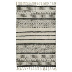 Tæppe - Nordal - råhvid og gråsort - 75 x 150 cm