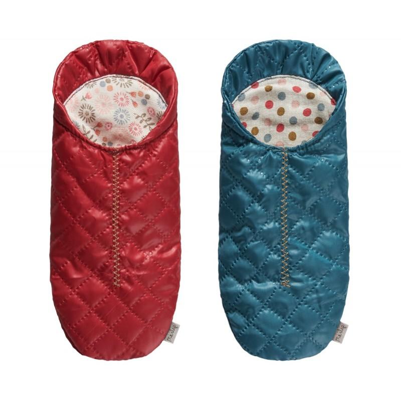 Maileg - Sovepose t/ mus rød eller blå